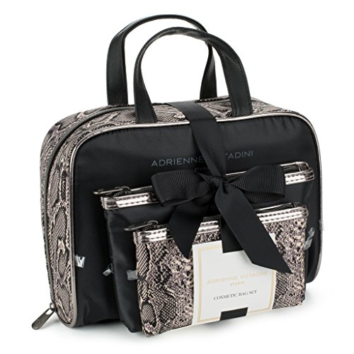 Adrienne Vittadini Set of 3 Satchel Cosmetic Case (Black & White Snake)