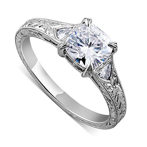 Hand Engraved Engagement Setting (2.06CT Platinum 950 Hand Engraved Milgrain Cushion Forever One Moissanite Engagement Ring 5mm Wide)