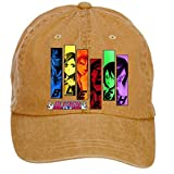 Jidlg Custom Washed Mens Cotton Bleach All Characters Anime Stencil Poster Adjustable Sun Hat Baseball Cap Brown