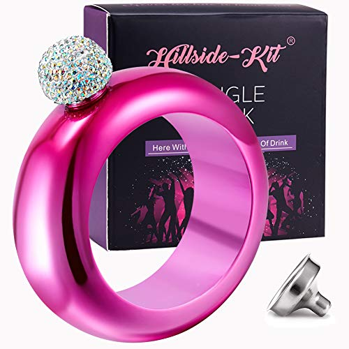 Crystal Wine Funnel - Hillside-Kit Bracelet Bangle Flask Handmade Crystal Lid Creative 304 Stainless Steel Wine Flask Gift For Women Girls Men Party Flask Hidden Liquor Flask Bracelet Funnel Set 3.5oz(Pink)