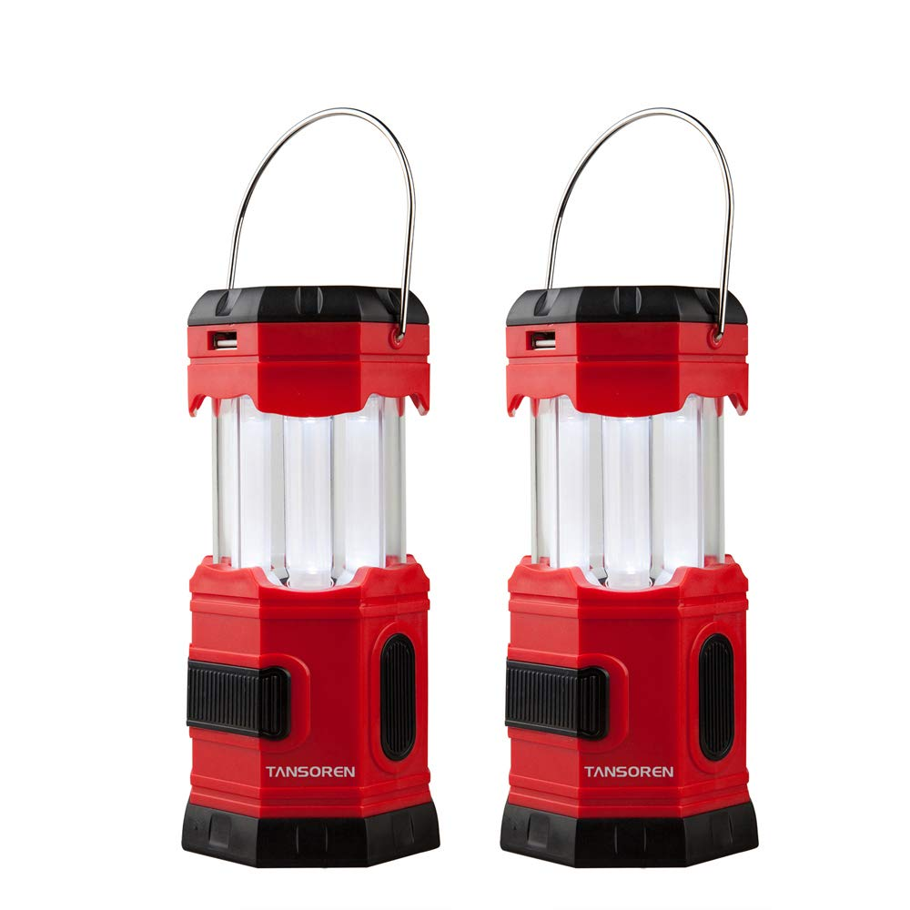 TANSOREN 2 PACK Portable LED Camping Lantern Solar USB Rechargeable or 3 AA Power Supply, Built-in Power Bank Compati Android Charge, Waterproof Collapsible Emergency LED Light with''S'' Hook