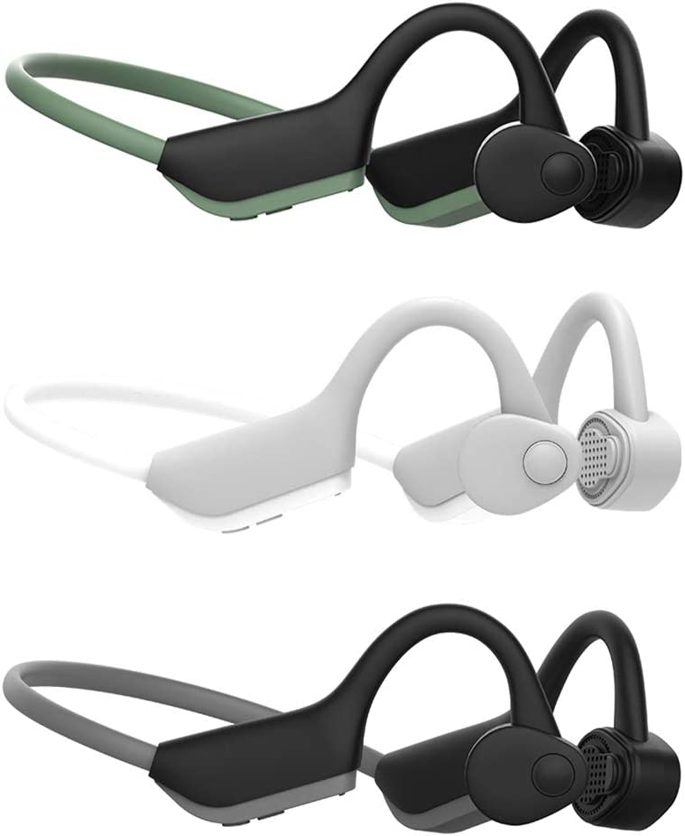 perfk Draadloze Bluetooth 5.0 Hoofdtelefoon Bone Conduction Headset IP56 Waterdichte Oortelefoon Ingebouwde Microfoon voor Reizen, Fietsen, Fitness, Kleur: wit Grijs