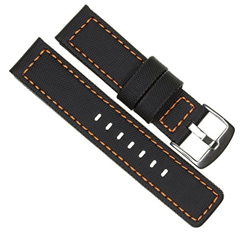 (24mm MARATAC ELITE Series Black PVC Rubber Strap Diver Watch Band Orange Stitch Kevlar X1)