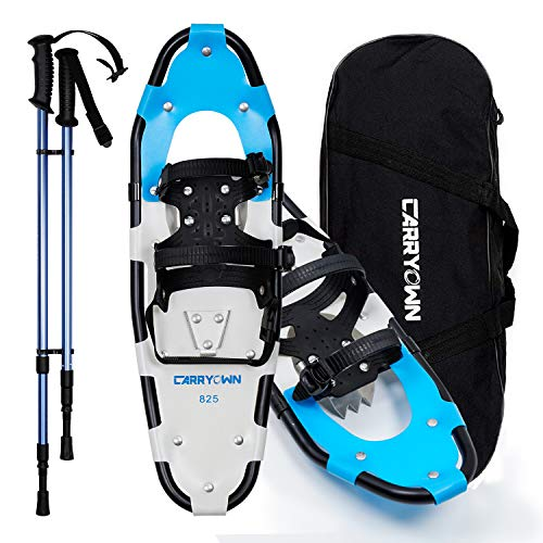 Carryown Snowshoes for Adults Men Women Youth Kids, Light Weight Aluminum Alloy All Terrain Snow Shoes with Trekking Poles and Carrying Tote Bag, 14