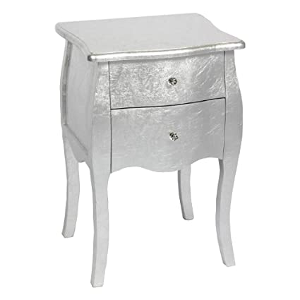 . Abreo Silver Shabby Chic Console Side Table French Bedroom Hallway 2 3 5  Chest Drawers  2 Drawer Tall Bed Side Cabinet