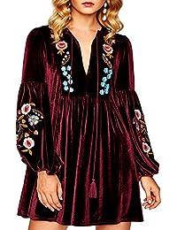 Women Bohemian Vintage Embroidered Velvet Spring Shift Mini Dress Long Sleeve Casual Tops Blouse