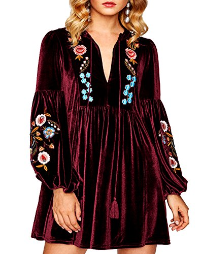 Casual Velvet Mini Shift Women Red Embroidered Tops Spring Wine Aofur Blouse Vintage Long Dress Sleeve Bohemian nIP40qqg