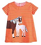 Fiream Girls Summer Applique Cotton Short Sleeves Casual Striped Dresses(6542tz,3T/3-4YRS)