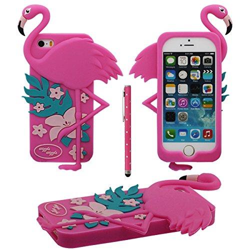 3D Créatif Animal Flamant Forme Souple Silicone Housse Etui de Protection Case pour Apple iPhone 5 5S 5C iPhone SE avec 1 stylet - Rose vif