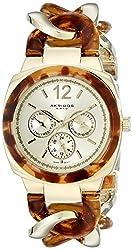 Akribos XXIV Women's AK641YG Ultimate Multi-Function Gold-Tone and Tortoise Pillow-Cut Twist Chain Bracelet Watch
