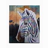 zebra decor for kitchen - Creative Horse painting Modern Animal Artwork Wall Art Zebra Prints on Ribbon Bedroom Hallway Home Decor Unframed Original Creation Wood Framed Ready to Hang