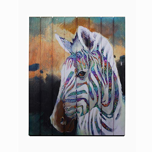 (Creative Horse painting Modern Animal Artwork Wall Art Zebra Prints on Ribbon Bedroom Hallway Home Decor Unframed Original Creation Wood Framed Ready to Hang)