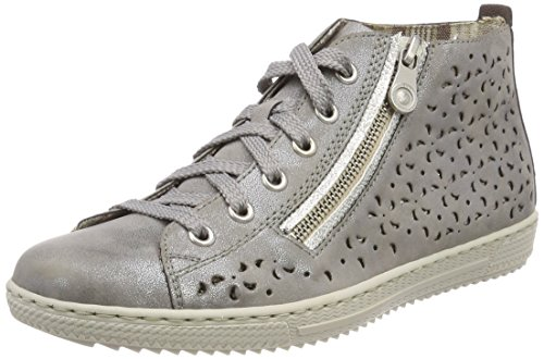 Rieker Women's L9435 Hi-Top Trainers Grey (Steel/White-silver) sale 100% original 5hU6Qs8