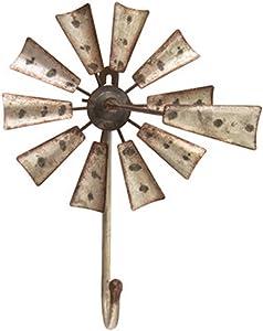 Large Metal Windmill Wall Hook | 9.5 x 6.25 inch | Rusty Tin Farmhouse Windmill Wall Decor