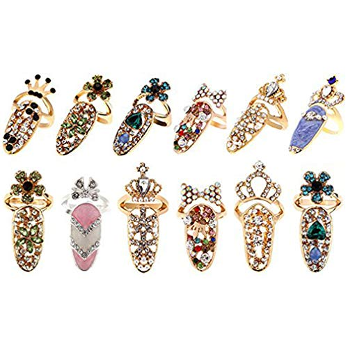CosCosX 12 Pcs Women Luxury Fingernails Ring Fashion Bowknot Knuckle Nail Ring Decoration Tip Nail Art Charm Crown Flower Crystal Rhinestone Finger Nail Rings