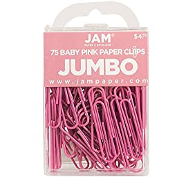 JAM Paper® Jumbo Paper Clips - Large 2 Inch Paperclips - Pink - 75 Paper Clips per Pack