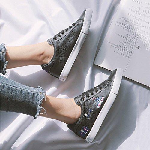 Femmes Up Casual Chaussures Black Appartements Sweet des la Mode Skateboard brodées Lace à Baskets nqASgf