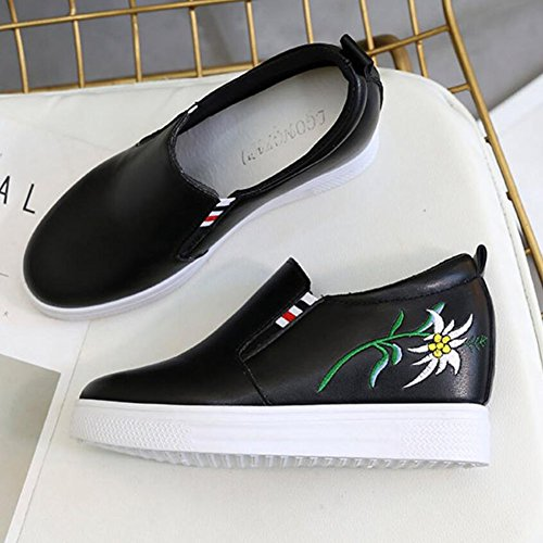Spring Nuevo casuales Blanco Pu Black GAOLIXIA Interior Color Zapatos Negro Bordado mujer sólido Confort Aumentar de Zapatos 7qtwIUfH