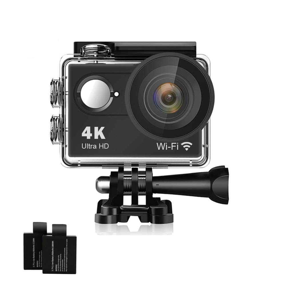 Action Camera 4K 16MP Underwater Waterproof Camera 170° Wide Angle WiFi Sports Cam with 2 Batteries and Mounting Accessories Kit