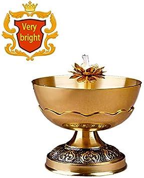 Budismo cobre puro cuenco de cobre aceite de la flor de la lámpara de la lámpara de pie para el budismo Buda Antes Changming para Suministros lámpara de aceite de la lámpara de velas budistas,Large