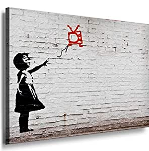 Banksy Graffiti Street Art -1077, Size 100x70x2 Cm. Printed On Canvas Stretched On A Wooden Frame.