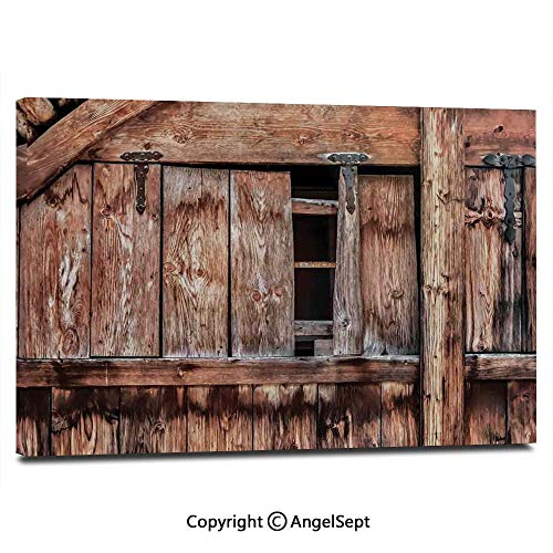 Canvas Prints Modern Art Framed Wall Mural Abandoned Damaged Oak Barn Door with Iron Hinges and Lateral Cracks Knock Theme Wall Decorations for Living Room Bedroom Dining Room Bathroom Office,Light