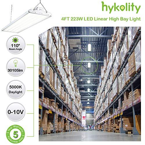 Hykolity LED High Bay Shop Light 4 Lamp Fluorescent Equivalent 2FT 110W Linear LED Industrial Workshop Light 1-10V Dim DLC Complied Warehouse Aisle Area Light 14300lm 1 Pack 5000K Daylight UL