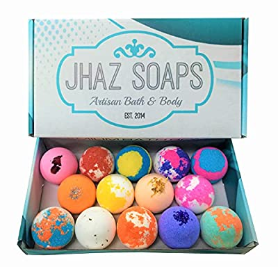 14 Bath Bombs by Jhaz Soaps: Gift Set, Lush Bath Experience, Colorful Bath Bomb, Non staining, Premium Colors and Moisturizing Ingredients, Made in the USA