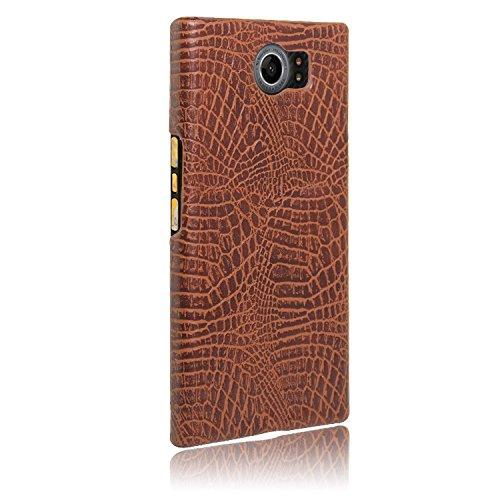 YHUISEN BlackBerry Priv Caso, Patrón de piel de cocodrilo clásico de lujo [Ultra Slim] Cuero de PU Anti-rasca la cubierta dura de la caja protectora de la PC para BlackBerry PRIV ( Color : Black ) Brown