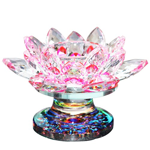Waltz&F Pink Crystal Lotus Flower Tealight Candle Holder Centerpieces Dia Approx 4.5