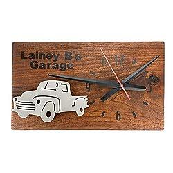 Customizable, Cedar Wood and Metal Quartz Wall ClockLil Truck customize name/script