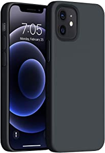 OUXUL Compatible with iPhone 12 Mini Case,Liquid Silicone Gel Rubber Phone Case,iPhone 12 Mini Case 2020 Cover 5.4 Inch Full Body Slim Soft Microfiber Lining Protective Case(Black)