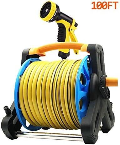 7機能スプレーノズル付きガーデンホースリール、66フィートのホース、ハイブリッドホース、庭の水やり、車/機械の洗浄に最適