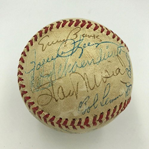 1970s Stan Musial Ernie Banks Hall Of Fame Multi Signed Baseball 24 Sigs - PSA/DNA Certified - Autographed Baseballs - Multi Signed Baseball