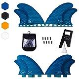 Quad Surfboard Fins (4 Fins) - Perfect Flex with Honeycomb (Blue, FCS)