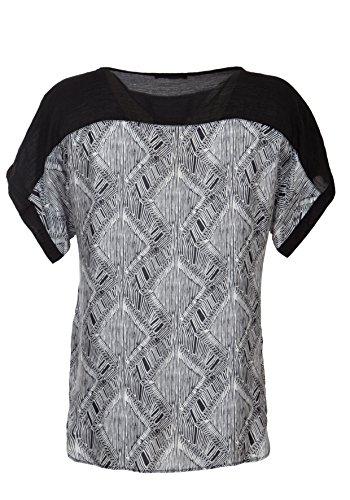 Print-Bluse mit semitransparenter Vorder- und Rückpasse