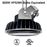 LED High Bay Light, UFO Led Hi-Bay Lighting Sosen Driver,150W(600W HID/HPS equivalent),5000K,Luxeon SMD 3030 LED with Mount Bracket&1.2M Power Cord for Gym Workshop Warehouse,DLC&UL,Well Don