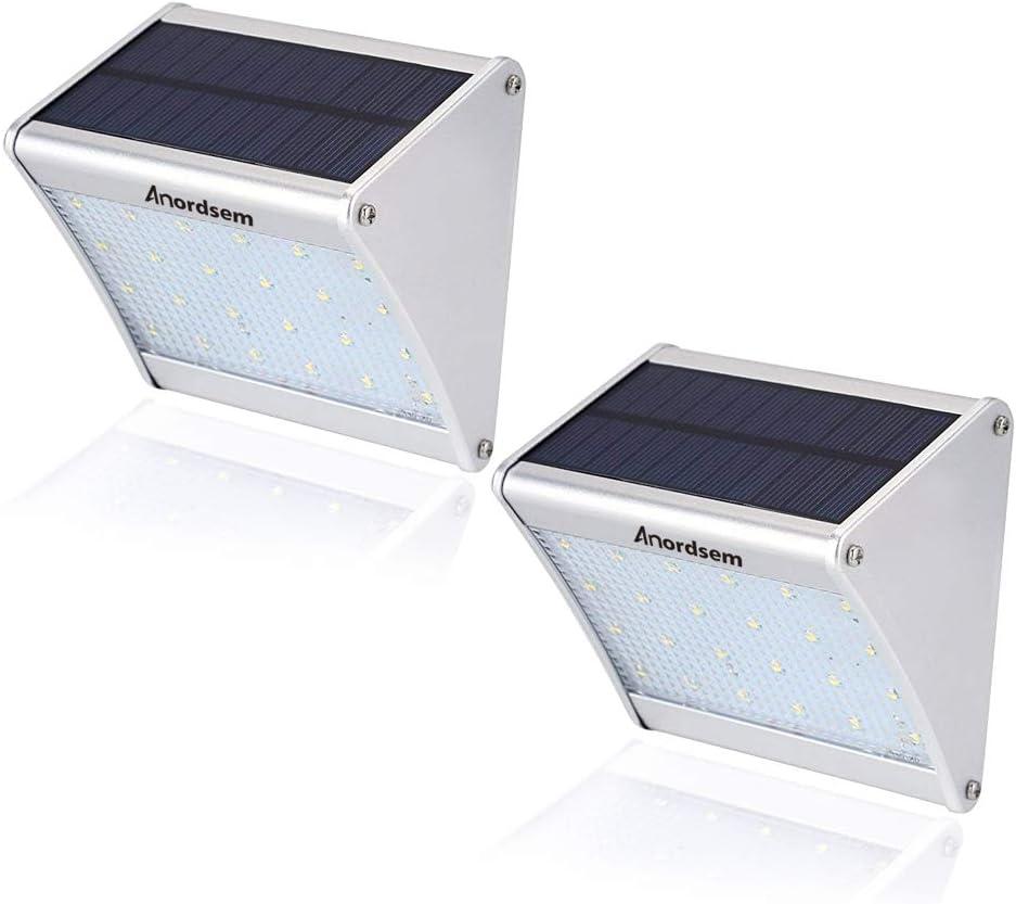 2 Pcs Solar Lights 24 LED Security Lights Aluminum Housing Radar Motion Sensor Lights 300Lumens for Outdoor Dark Garden Patio Areas,Footpath Illumination