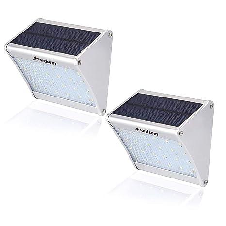 Foco Solar Exterior Sensor Movimiento (2 Piezas) 24 LED Luz Solar con Carcasa de