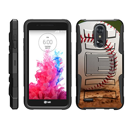 TurtleArmor | Compatible for LG Aristo 3 Case | Risio 3 | Rebel 4 | Tribute Empire [Hyper Shock] Armor Hybrid Cover Kickstand Impact Holster Belt Clip Sports and Games - Baseball Dirt - Iphone 3g Holster