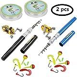 jatzde Portable Mini Telescopic Pen Fishing Rod Reel Combo Set -- Pocket Fishing Rod Pole + Reel Aluminum Alloy + Fishing Line + Soft Lures Set (2 pcs) (2 pcs Black+Blue)