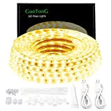 GuoTonG 50ft/15m LED Lights Strip kit,Waterproof, 3000K Warm White,110V 2 Wire, Flexible, 900 Units SMD 2835 LEDs,UL Listed Power Supply,Indoor/Outdoor Use, Ideal for Backyards, Decorative Lighting