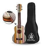 (US) Honsing Soprano Ukulele Professional 21 Inch uke with 5mm Padded Gig Bag Aquila Strings Rosswood Frets Colorful Stained Hawaiian Pattern