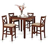 East West Furniture PUBS5-BRN-C 5-Piece Counter Height Dining Table Set, Brown For Sale