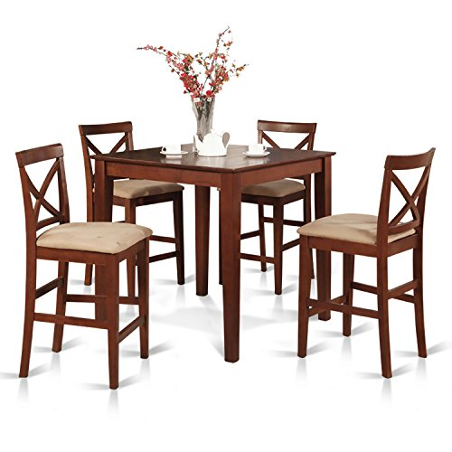East West Furniture PUBS5-BRN-C 5-Piece Counter Height Dining Table Set, Brown