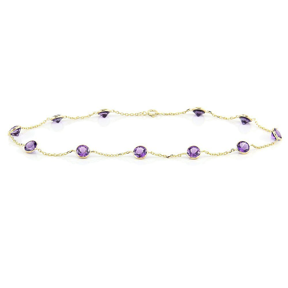 14k Yellow Gold Handmade Station Anklet with Round 4mm Amethysts