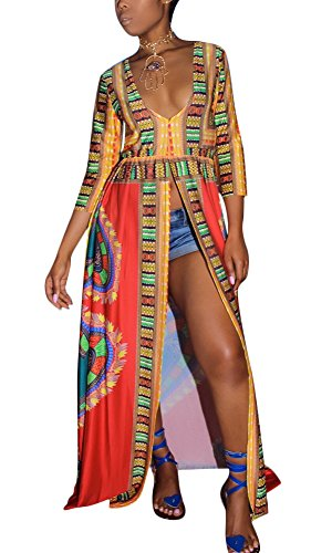 Aro Lora Women's African Print Deep V Neck 3/4 Sleeve High Slit Dashiki Long Maxi Dress X-Large Red