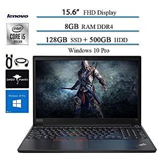 "2020 Lenovo ThinkPad E15 15.6"" FHD Business Laptop Computer, 10th gen Intel i5-10210U (up to 4.20GHz,Beat i7-8550u), 8GB RAM, 128GB SSD + 500GB HDD, WiFi HDMI Win10 Pro w/Ghost Manta Accessories"
