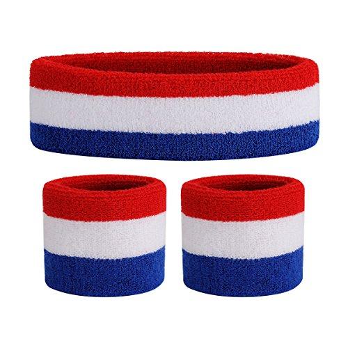OnUpgo Kids Sweatbands Headband Wristband Set - Athletic Cotton Sweat Band for Sports (1 Headband + 2 Wristbands) (Red/White Blue)
