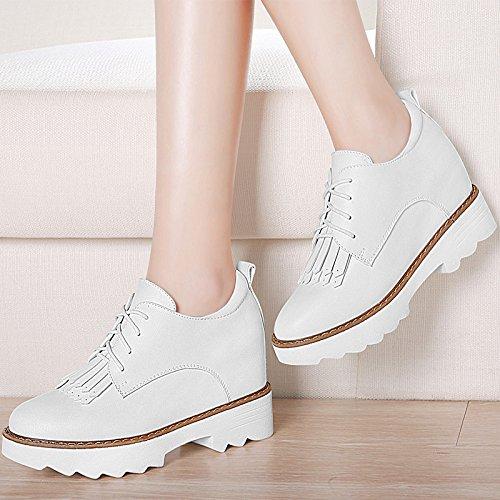 KHSKX-El Aumento En La Nueva Primavera Zapatos Coreano De Todo Partido Británico Zapatos Casuales Zapatos De Cuero Zapatos De Los Estudiantes white